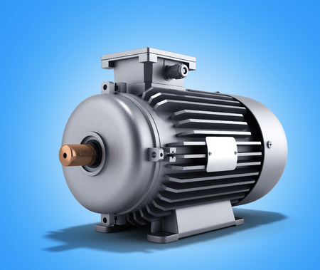 traction device: electric motor generator 3d illustration on a gradient background