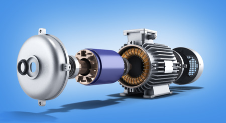 electric motor in disassembled state 3d illustration on a gradient background Stockfoto