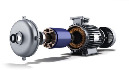 白い背景の上の 3 d 図で逆アセンブル状態電気モーター