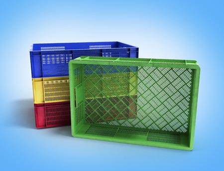 foldable: empty colored plastic boxes 3d illustration on gradient