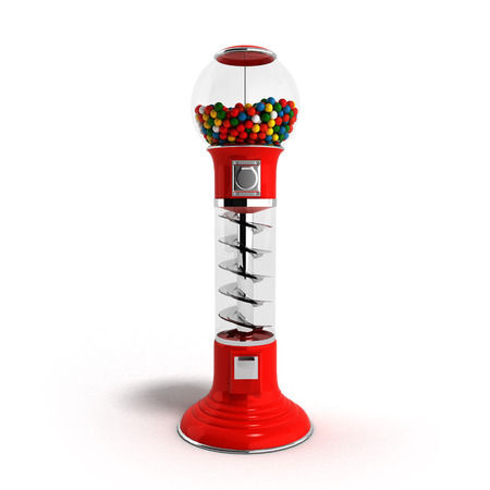 multicolored gumballs: A regular red vintage gumball dispenser machine made of glass and reflective plastic with chrome trim filled with multicolored gumballs on an 3d render isolated white background