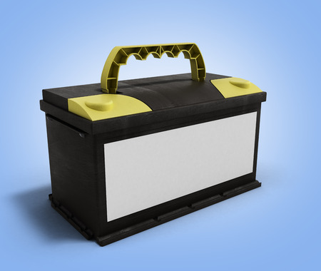 12v: battery accumulator car auto parts electrical supply power 3d illustration on gradient