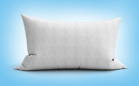 headboard: clasic white rectangular pillow 3d illustration on gradient background