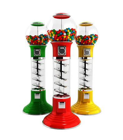 multicolored gumballs: colored  vintage gumball dispenser machine made of glass and reflective plastic with chrome trim filled with multicolored gumballs on an 3d render isolated white background without a shadow Stock Photo