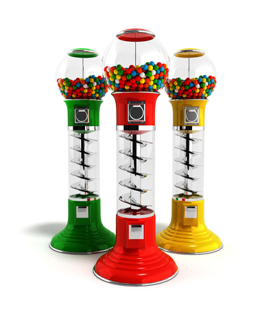 gumballs: colored  vintage gumball dispenser machine made of glass and reflective plastic with chrome trim filled with multicolored gumballs on an 3d render isolated white background