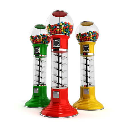 gumballs: colored  vintage gumball dispenser machine made of glass and reflective plastic with chrome trim filled with multicolored gumballs on an 3d illustration isolated white background