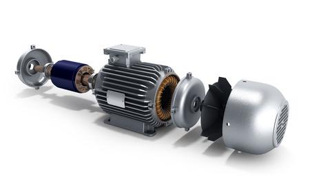moteur électrique à l'état désassemblé 3d illustration sur blanc