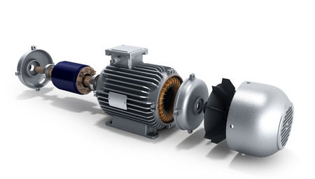 electric motor in disassembled state 3d illustration on a white