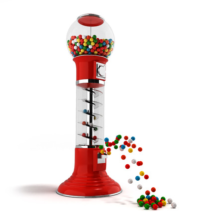 A regular red vintage gumball dispenser machine made of glass and reflective plastic with chrome trim filled with multicolored gumballs on an 3d render isolated white