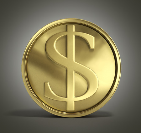 gold coin with dollar sign 3d illustration on a gradient background