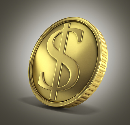 gold coin with dollar sign 3d render on a gradient background Stock Photo