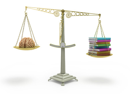 affluence: Knowledge concept book outweigh the brain to balance raising it up 3d render on white Stock Photo