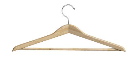 coat hanger: Wooden coat hanger 3d render on white Stock Photo