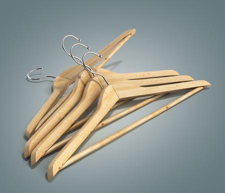 hangers: Wooden coat hangers 3d render on gradient
