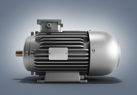 traction device: electric motor generator 3d render on a gradient background Stock Photo