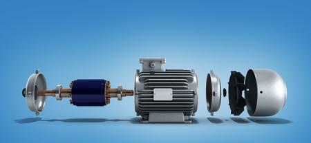 전기 모터 분해 상태 3d 렌더링에 그라데이션 배경