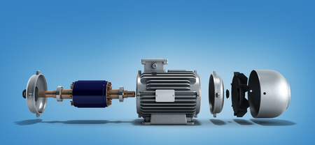 electric motor in disassembled state 3d render on a gradient background Stockfoto