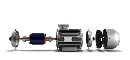 alternateur: moteur électrique à l'état démonté 3D render sur un fond blanc Banque d'images