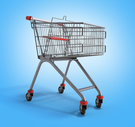 mart: empty trolley from the supermarket 3d illustration on gradient background