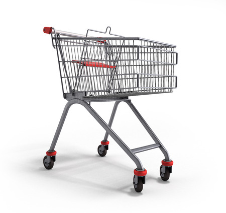mart: empty trolley from the supermarket 3d illustration on white background
