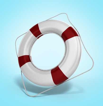 flotation: lifebuoy 3d illustration on a gradient background Stock Photo