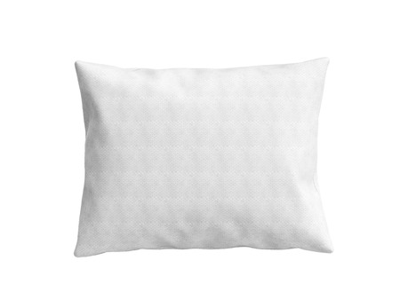 headboard: close up of a clasic white pillow 3d illustration on white background Stock Photo