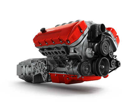 automotive engine gearbox assembly is isolated on a white background 3d render Standard-Bild