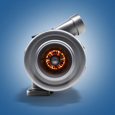 Automotive turbocharger turbine 3d render on gradient