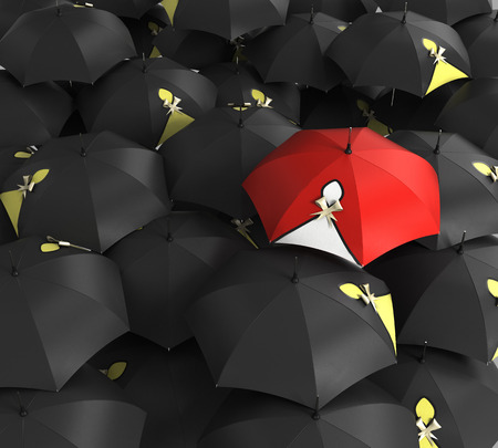 red umbrella: 3d render Red umbrella stand out from the crowd of many black and white umbrellas. Stock Photo