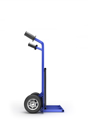 sack truck: blank blue two-wheeled hand truck for transporting heavy loads, isolated on white background Stock Photo