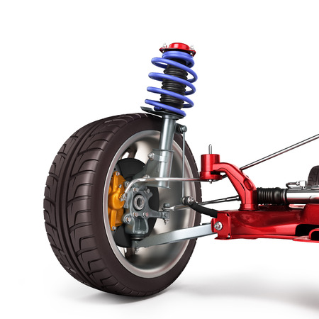 car suspension separately from the car isolated on white 3d illustration Standard-Bild