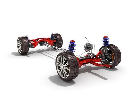 car suspension separately from the car isolated on white 3d illustration Stock Photo
