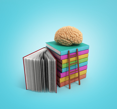 hardcover: brain training concept lies on a pile of books and a wooden staircase next to them 3d render on a gradient background