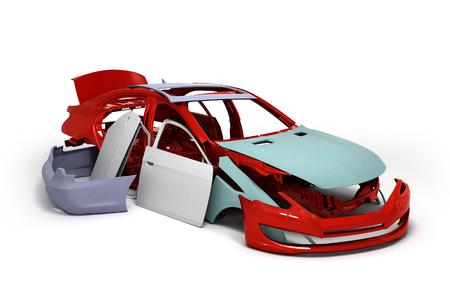 concept car verniciata corpo rosso e parti innescato vicino isolato su sfondo bianco rendering 3D