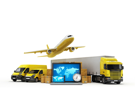 modes: concept of fast international deliveries different modes of transport near the boxes and laptop 3d illustration