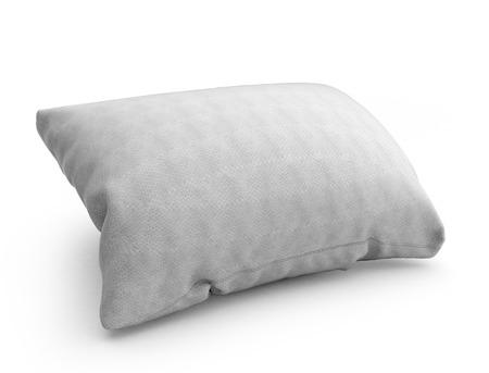 headboard: clasic white rectangular pillow 3d illustration on white background