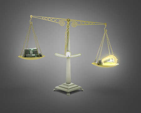 outweighs: concept of income-generating ideas bulb outweighs the pile of money on the scales 3d render on gradient Stock Photo