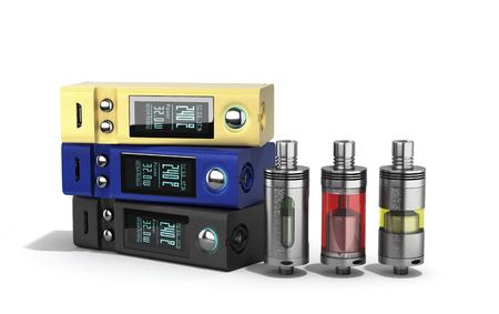 Electronic cigarettes Device box mod to smokeless smoking 3d render on white
