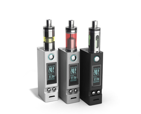 habit: Electronic cigarettes Device box mod to smokeless smoking 3d render on white
