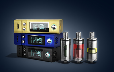 mod: Electronic cigarettes Device box mod to smokeless smoking 3d render on gradient Stock Photo