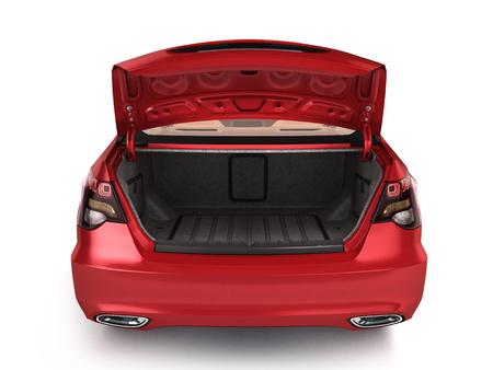 vide coffre ouvert d'une voiture 3d render