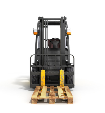 transportation facilities: Forklift loader isolated on white 3D render Stock Photo