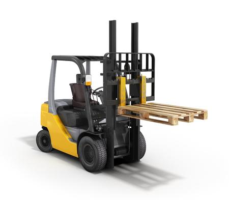 stockpile: Forklift loader raised pallet isolated on white 3D render Stock Photo