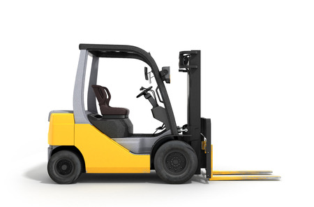 Forklift loader isolated on white 3D render Stock Photo