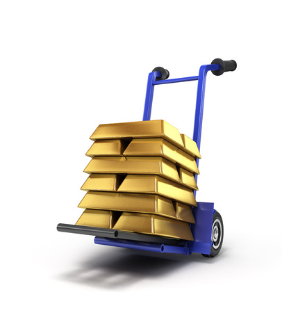 traction: gold on hand truck isolated on white