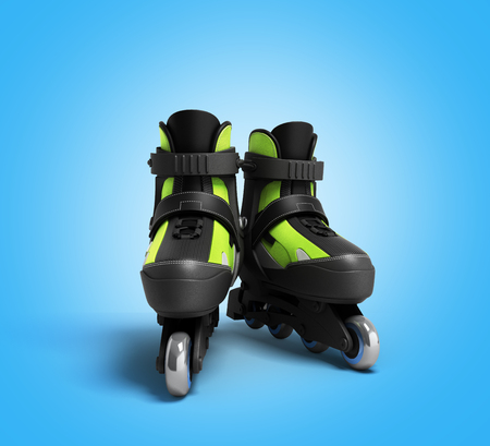 inline skating: inline rollers skates 3d render on gradient backgrownd