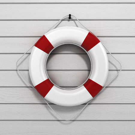 lifebuoy 3d render on a white wooden background Stock Photo