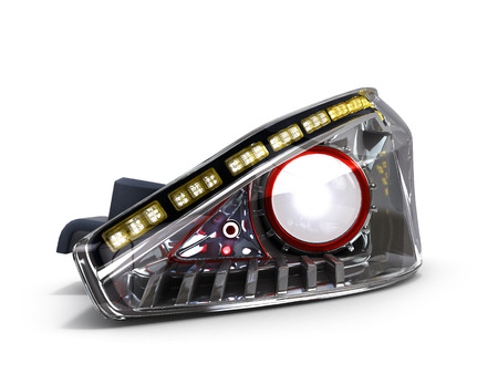 dipped: Headlamp car isolated on white background 3d illustration Stock Photo