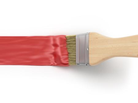 빨간색 페인트 스트로크로 페인트 브러시