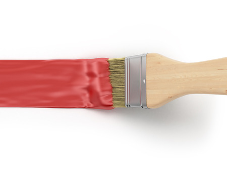Paint brush with red paint stroke Standard-Bild